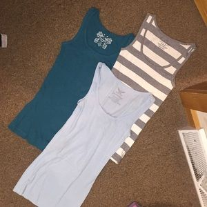 3 xs tank tops baby blue, teal, gray/white striped